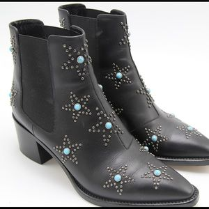 VALENTINO Turquoise Star-studded Booties